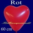 Riesenballon, Herzluftballon Rot 1 Stück / Heliumqualität