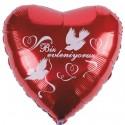 Roter Herzluftballon zur Hochzeit, Biz Evleniyoruz, wir heiraten, ohne Helium