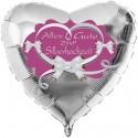 Silberner Herzluftballon aus Folie. Alles Gute zur Silberhochzeit, Flieder