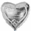Silberner Herzluftballon aus Folie. Alles Gute zur Silbernen Hochzeit