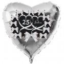 Silberner Herzluftballon aus Folie zur Silbernen Hochzeit, 25 Jahre, schwarz mit Schleifen, inklusive Helium-Ballongas