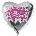 Silberner Herzluftballon aus Folie zur Silbernen Hochzeit, 25 Jahre, inklusive Helium-Ballongas