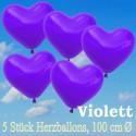 Herzluftballons 100 cm, Violett, 5 Stück