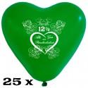 Herzuftballons, Latex, Petersilienhochzeit, 28-30 cm Ø, 25 Stück