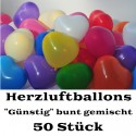 Herzluftballons Bunt gemischt 50 Stück