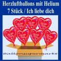 Ich liebe Dich, 7 Herzluftballons mit Herzen, inklusive Helium