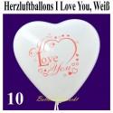 Herzluftballons I Love You, Weiß, 10 Stück