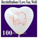 Herzluftballons I Love You, Weiß, 100 Stück