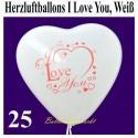 Herzluftballons I Love You, Weiß, 25 Stück