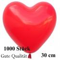 Herzluftballons Rot 1000 Stück / Heliumqualität