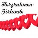 Herzrahmengirlande, Rot, 6 Meter, 15-17 cm Durchmesser