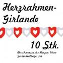 Herzgirlanden 10Stck. / Rot-Weiß / 16cm