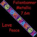 Folienbanner Hippie-Party, Love & Peace