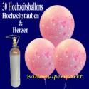 Midi-Set-Luftballons-Hochzeit, 30 Luftballons mit Hochzeitstauben und Herzen, rosa