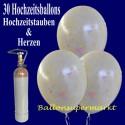 Midi-Set-Luftballons-Hochzeit, 30 Luftballons mit Hochzeitstauben und Herzen, weiß