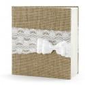 Hochzeits-Gästebuch, Vintage Look mit Schleife aus Spitze