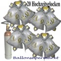 Hochzeitsglocken, Doppelglocken zur Hochzeit, 20 Folienballons, Maxi-Set, mit der 10 Liter Heliumflasche