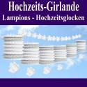 Hochzeitsdeko-Girlande, Hochzeitsglocken, Lampions und Blüten