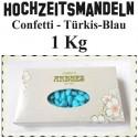 Hochzeitsmandeln Confetti, Türkis-Blau, 1 Kg