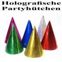 Holografische Partyhütchen, 11 cm x 17 cm, glänzend, Farbauswahl, 1 Stück