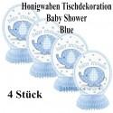 Baby Shower Blue, Honigwaben-Tischdeko zu Babyparty und Geburt eines Jungen