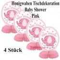 Baby Shower Pink, Honigwaben-Tischdeko zu Babyparty und Geburt eines Mädchens