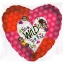I'm WILD For You, Luftballon aus Folie mit Helium, zu Liebe und Valentinstag