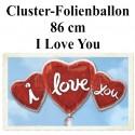 I Love You Herz-Cluster Jumbo-Luftballon mit Helium