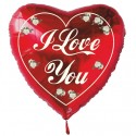 Ich liebe dich Luftballon, Herzluftballon, Folienballon mit Ballongas