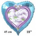 In Liebe für Mama. Herzluftballon in Hellblau aus Folie ohne Helium zum Muttertag