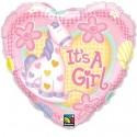 It's a Girl Herzluftballon aus Folie zu Geburt, Taufe, Babyparty, Girl-Mädchen, ohne Ballongas Helium