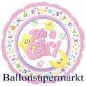 Girl, Luftballon aus Folie zu Geburt und Taufe, Es ist ein Mädchen, Jumbo-Folienballon mit Helium