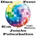 Jumbo-Ballon, Disco-Fever, Partydeko Mottoparty 70er Jahre, Folienballon mit Ballongas