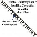 Jumbo-Geburtstagsbanner Sparkling Celebration Birthday mit Zahlen zum Geburtstag
