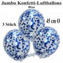 Jumbo Konfetti-Ballons, Latex 45 cm Ø, 3 Stück, Transparent, gefüllt mit Konfetti in Blau