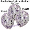 Jumbo Konfetti-Ballons, Latex 45 cm Ø, 3 Stück, Transparent, gefüllt mit Konfetti in Flieder und Violett