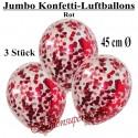 Jumbo Konfetti-Ballons, Latex 45 cm Ø, 3 Stück, Transparent, gefüllt mit Konfetti in Rot