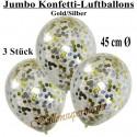 Jumbo Konfetti-Ballons, Latex 45 cm Ø, 3 Stück, Transparent, gefüllt mit Konfetti in Gold und Silber