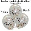 Jumbo Konfetti-Ballons, Latex 45 cm Ø, 3 Stück, Transparent, gefüllt mit Konfetti in Rosegold und Silber