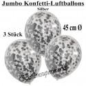 Jumbo Konfetti-Ballons, Latex 45 cm Ø, 3 Stück, Transparent, gefüllt mit Konfetti in Silber