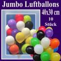 Jumbo Luftballons, Latex 40 x 30 cm Ø, 10 Stück / Farbauswahl