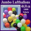 Jumbo Luftballons, Latex 40 x 30 cm Ø, 1000 Stück / Farbauswahl