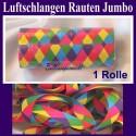 1 Rolle Luftschlangen, bunte Rauten, Jumbo, Papierschlangen Festdekoration zu Karneval und Fasching