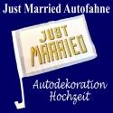 Autofahne Hochzeit, Just Married Dekoration für das Hochzeitsauto
