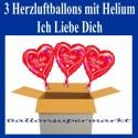 Ich liebe Dich, 3 Herzluftballons mit Herzen, inklusive Helium