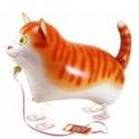 Getigerte Katze, Airwalker Luftballon aus Folie mit Helium