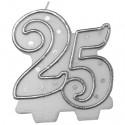Kerze Zahl 25, Dekoration Silberne Hochzeit, Jubiläum, Geburtstag