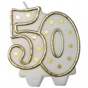 Kerze Zahl 50, Dekoration Goldene Hochzeit, Jubiläum, Geburtstag