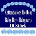 Kettenballons Hellblau, Baby Boy, Babyparty Dekoration, 10 Stück