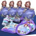 Kindergeburtstag Party-Set, Sofia The First, mit 4 großen Sofia die Erste Luftballons inklusive Ballongas